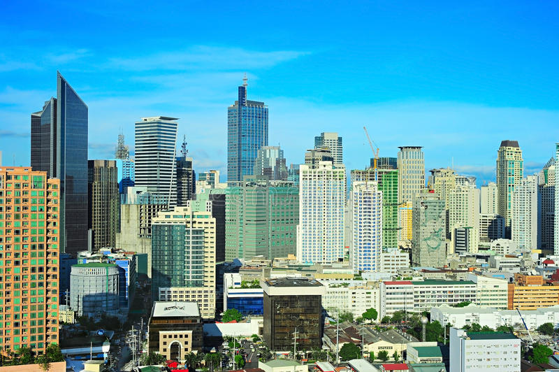 Centro de negócios de Manila, Filipinas fotografia de stock royalty free
