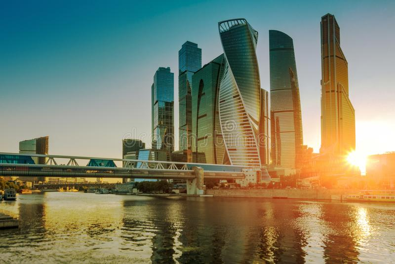 Centro de negócios internacional de Moscou, Rússia fotos de stock royalty free