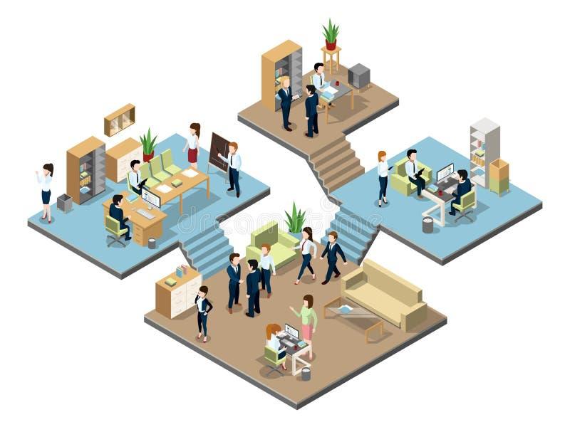 Centro de negocios con la gente en el trabajo en oficinas Ejemplos isométricos del vector ilustración del vector