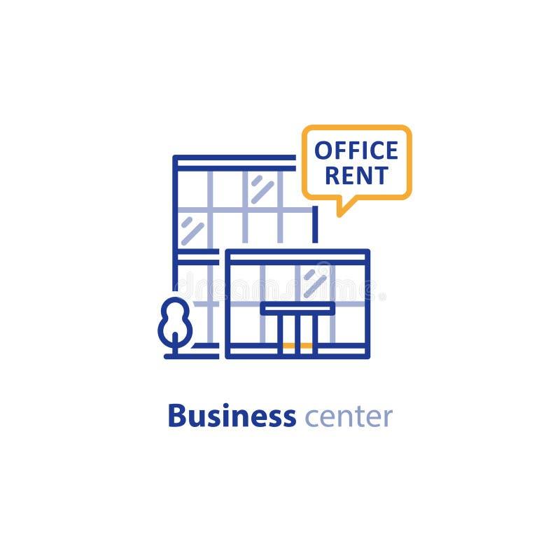 Centro de negocios, edificio moderno de cristal, promoción del alquiler libre illustration