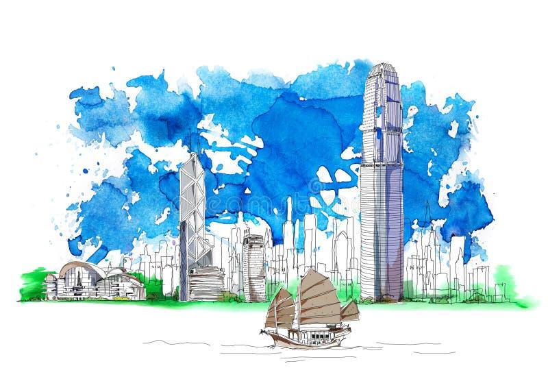 Centro de negocios de Hong Kong, Banco de China, bosquejo con efectos coloridos del color de agua libre illustration