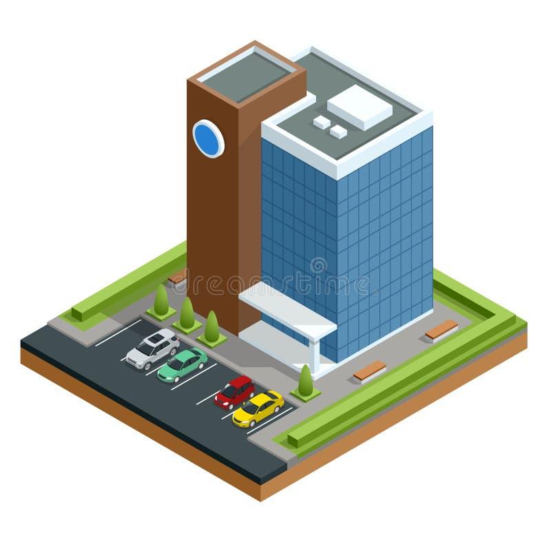 Centro de negocios moderno isométrico con el aparcamiento y los coches Ejemplo aislado comercial del vector del edificio de ofici ilustración del vector