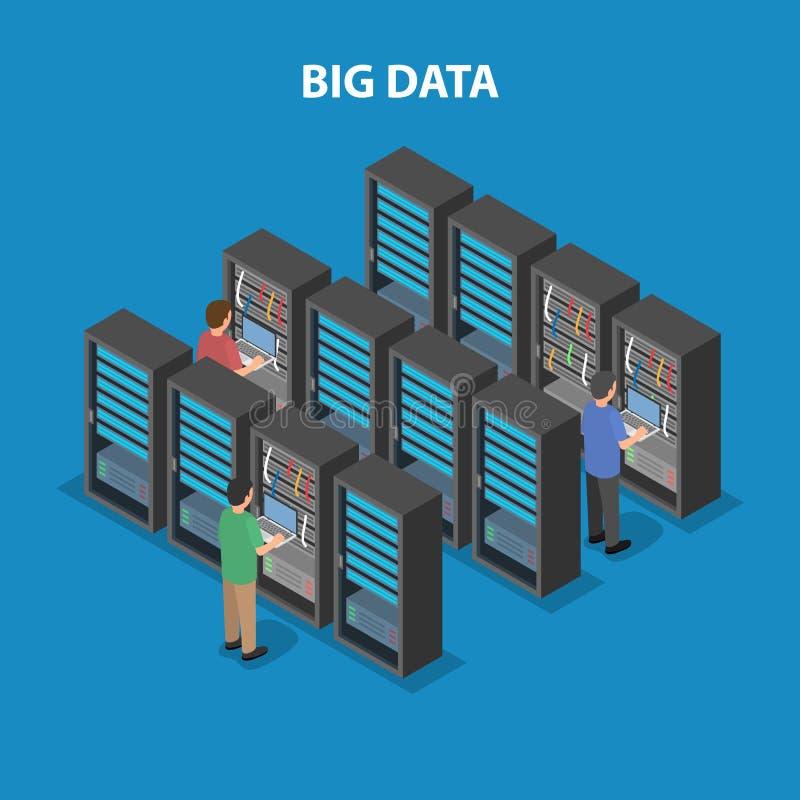 Centro de proceso de datos Inteligencia artificial y redes neuronales ilustración del vector