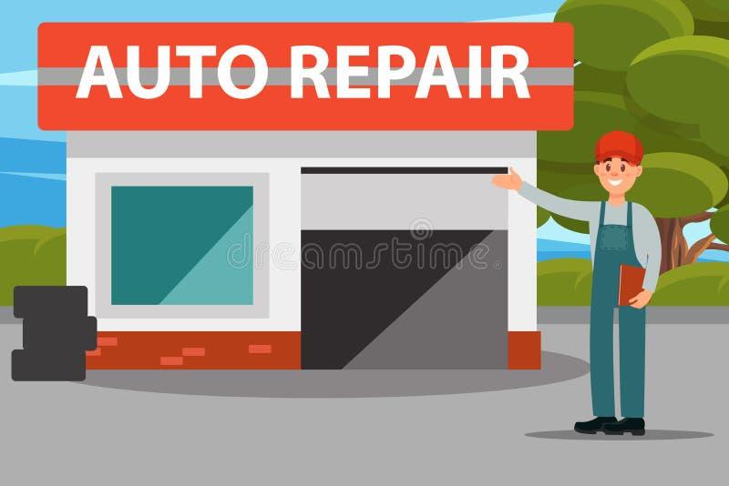 Centro de serviço do reparo do carro auto, mecânicos no uniforme que faz uma ilustração lisa do vetor do gesto bem-vindo ilustração stock
