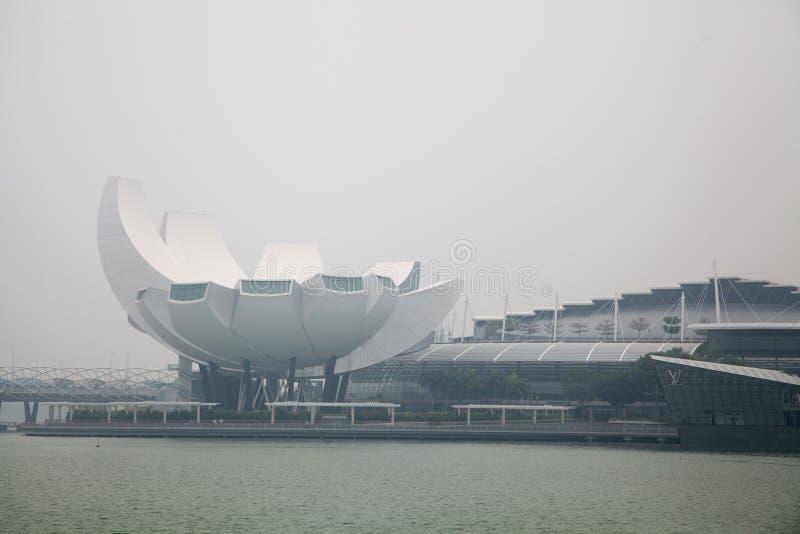 Centro de Singapur cubierto en neblina foto de archivo