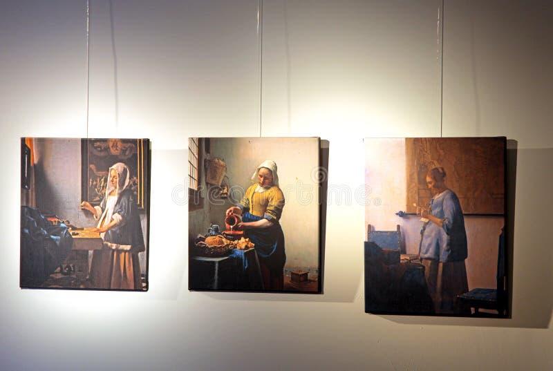 Centro de Vermeer, cerámica de Delft - Países Bajos imagen de archivo