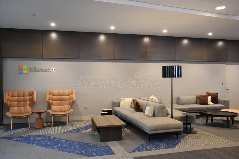 Centro de visitantes de Microsoft en la sede central de Redmond, Washington imagen de archivo