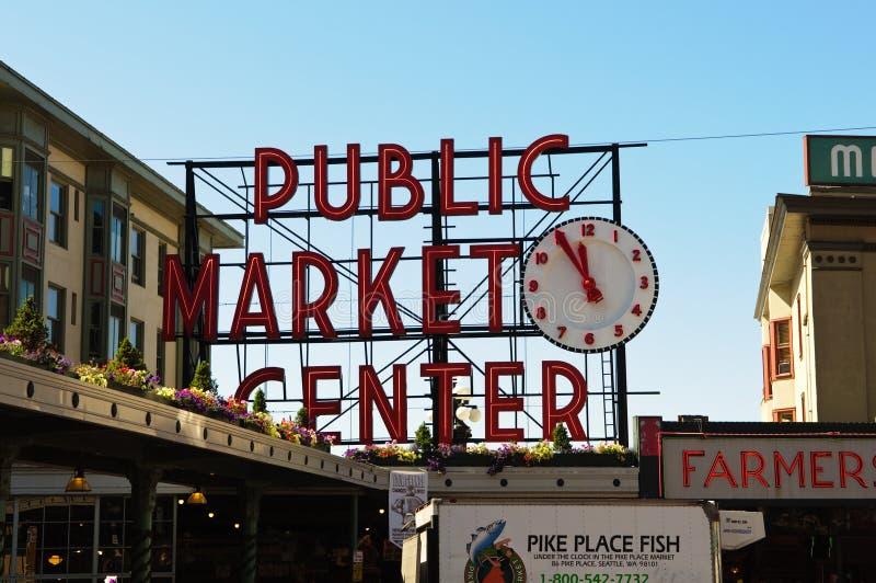 Centro del mercado público en Seattle Washington fotografía de archivo libre de regalías