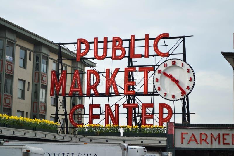 Centro del mercado público, Seattle, Washington foto de archivo