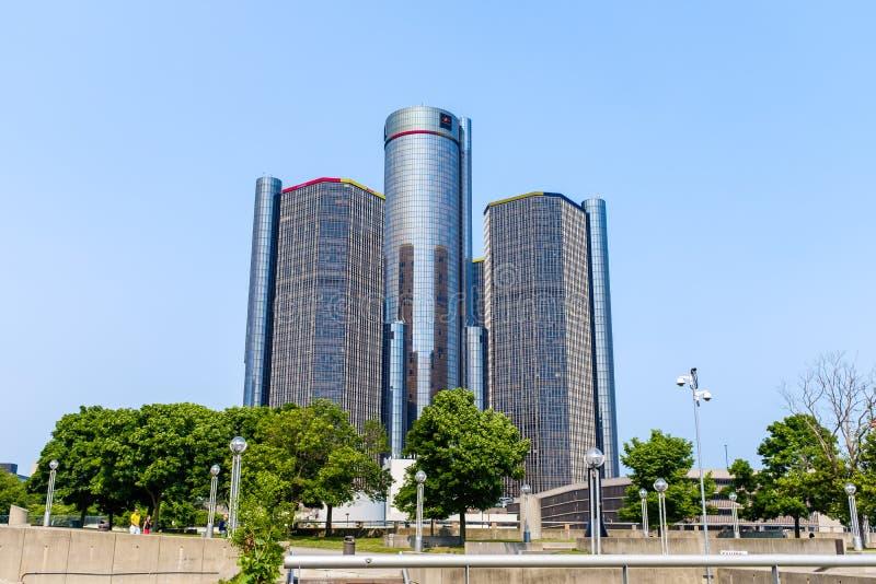 Centro del renacimiento del GM en Detroit imagen de archivo