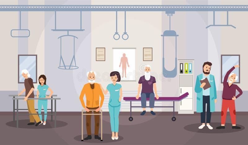 Centro di riabilitazione, fisioterapia per gli anziani illustrazione di stock