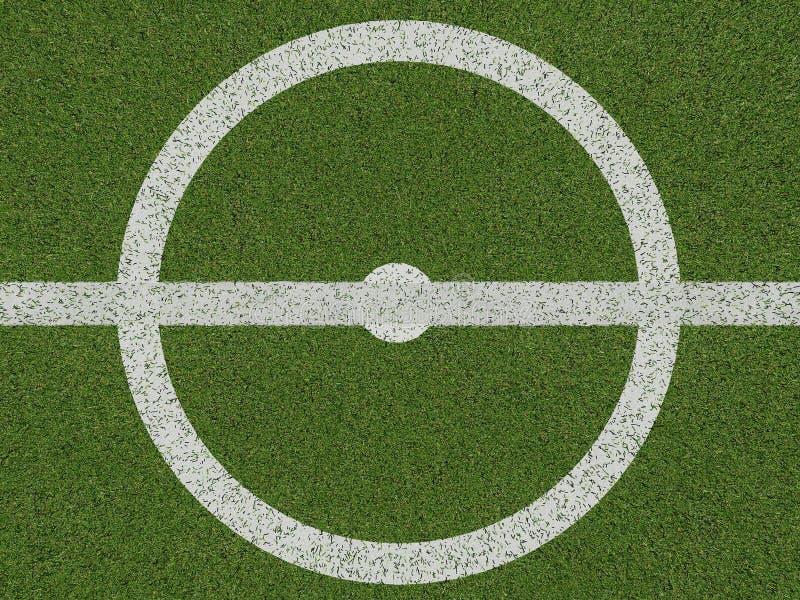 Centro di soccerfield o del campo di football americano sulla vista superiore royalty illustrazione gratis