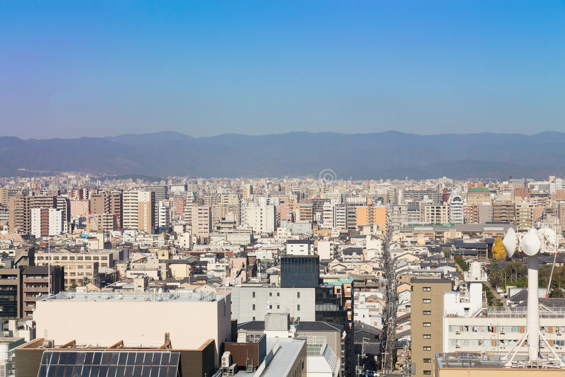 Centro direzionale della città di Kyoto di vista aerea immagine stock libera da diritti