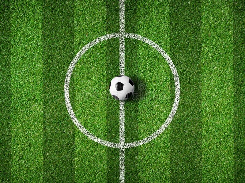 Centro do campo de futebol e opinião superior da bola ilustração stock