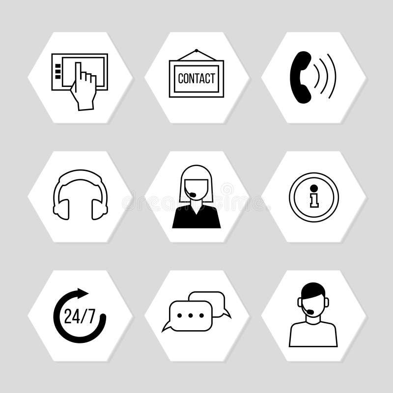 Centro do contato ou ícones em linha do apoio ajustado ilustração stock