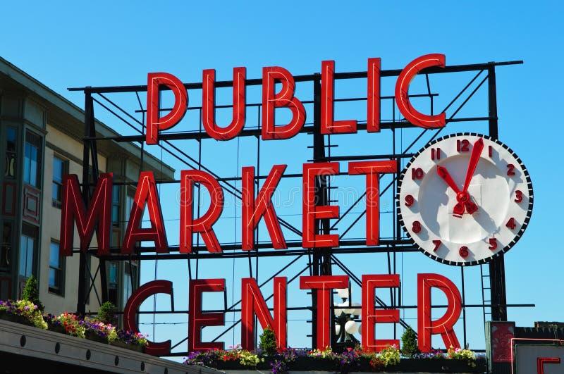 Centro do mercado público em Seattle Washington foto de stock