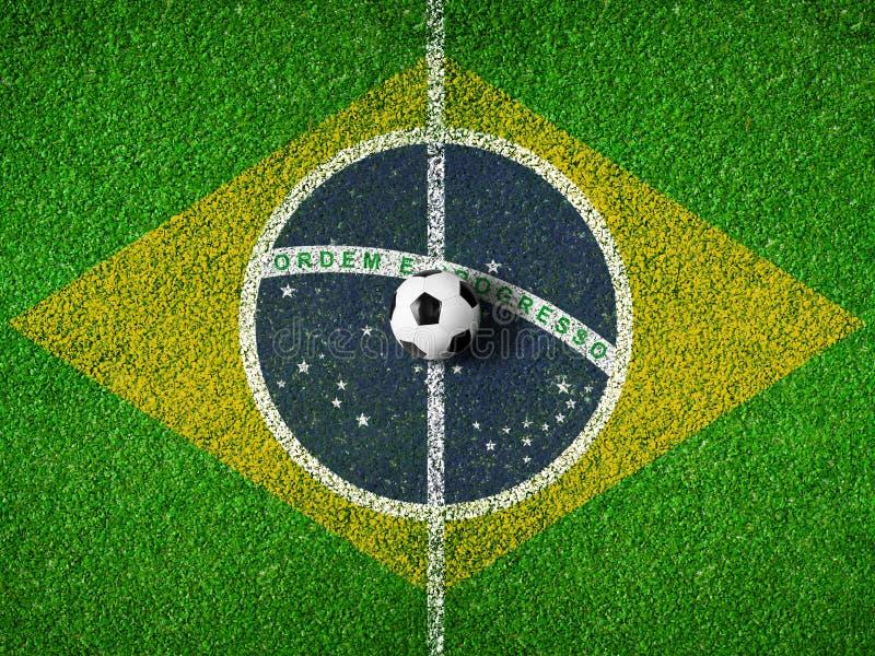 Centro do passo ou do campo do futebol com a bandeira de Brasil imagem de stock