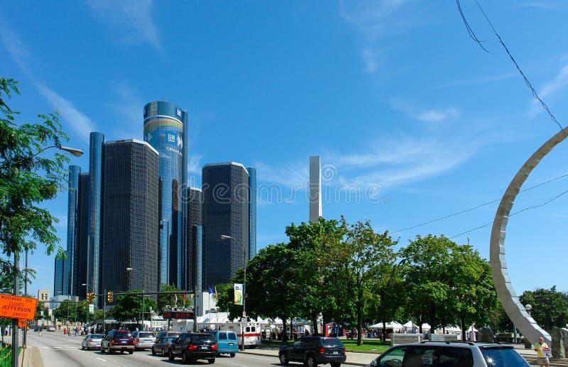 Centro do renascimento do GM, Rencen em Detroit, Michigan, EUA imagens de stock