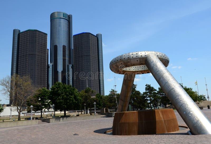 Centro do renascimento e Hart Plaza, Detroit imagens de stock