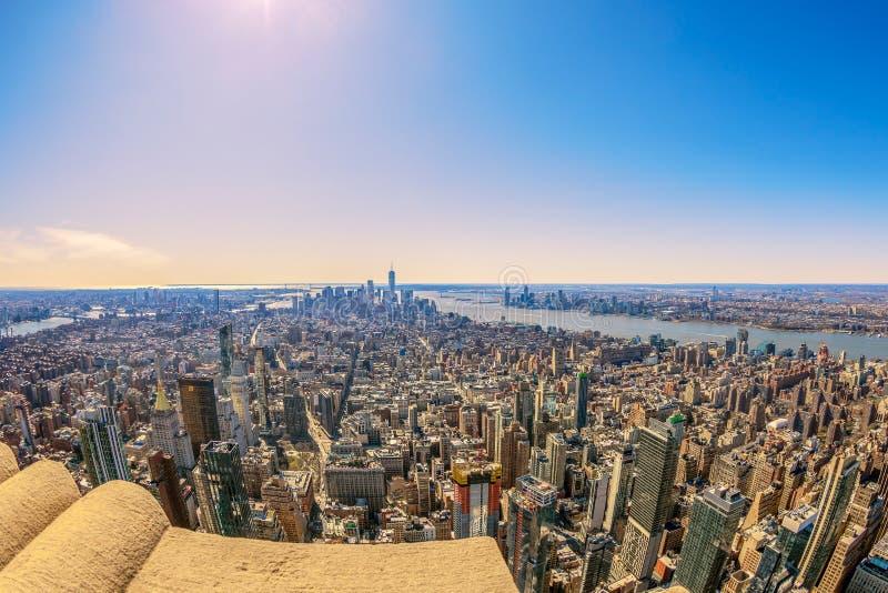 Centro e baixo de Manhattan à tarde Nova Iorque, EUA imagens de stock royalty free