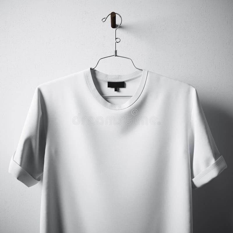 Centro en blanco blanco Gray Concrete Empty Wall Background de la ejecución de la camiseta de algodón del primer Textura altament fotos de archivo