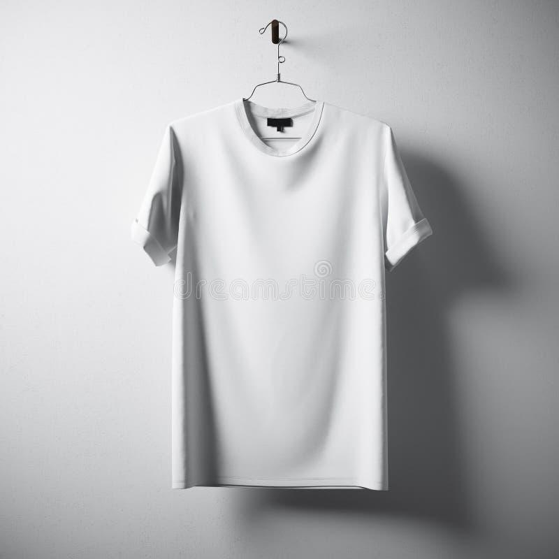 Centro en blanco blanco Gray Concrete Empty Wall Background de la ejecución de la camiseta de algodón Materiales altamente detall foto de archivo libre de regalías