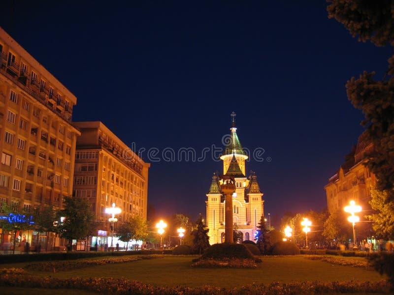 Centro en la noche, Rumania de Timisoara imágenes de archivo libres de regalías