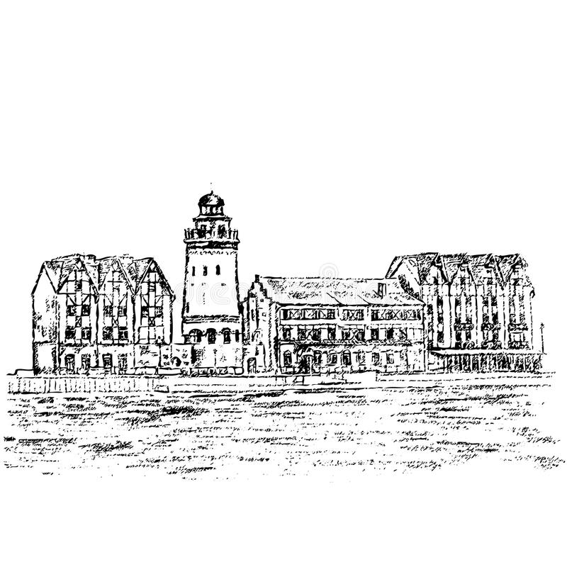 Centro etnográfico y comercial, terraplén del pueblo pesquero, Kaliningrado Rusia, bosquejo dibujado mano del vector ilustración del vector