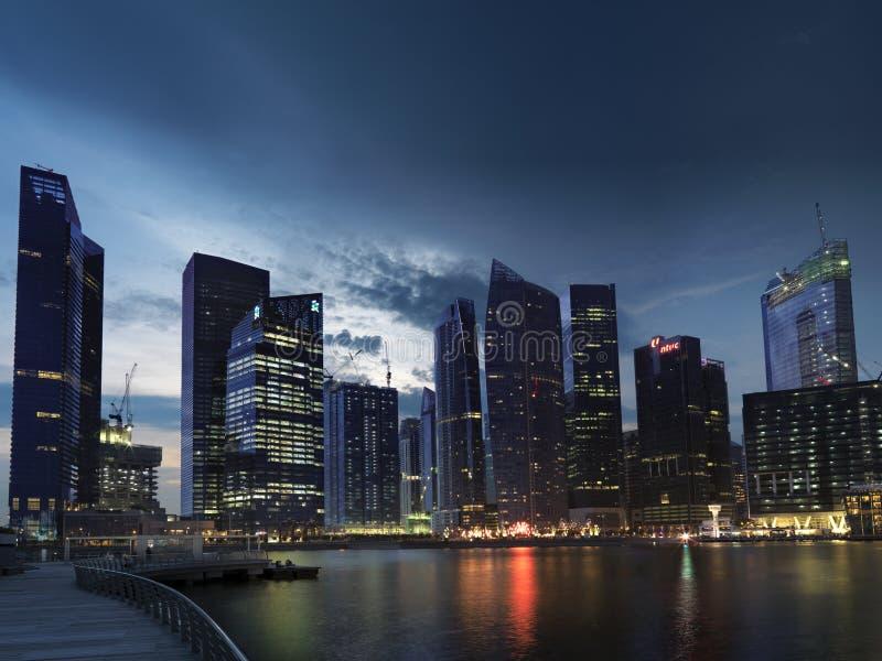 Centro financiero de la bahía del puerto deportivo, Singapur foto de archivo