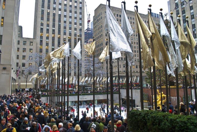Centro grande de Rockefeller da multidão imagem de stock royalty free