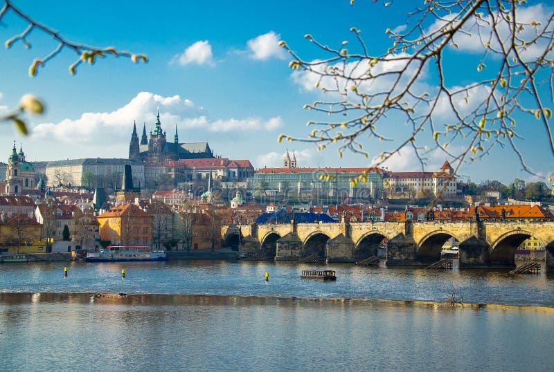 Centro histórico con el castillo, Praga, República Checa de Praga fotografía de archivo libre de regalías