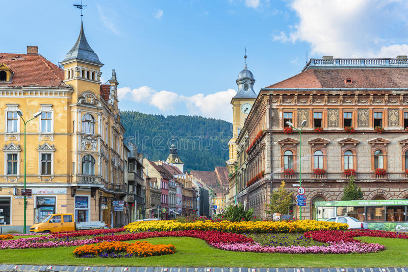 Centro histórico de Brasov, Romênia imagens de stock