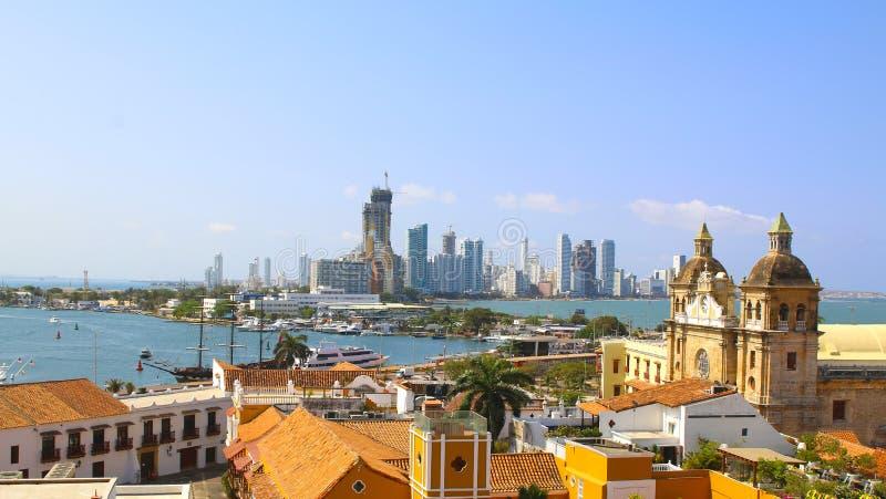 Centro histórico de Cartagena, de porto e de boca grandiosos fotos de stock