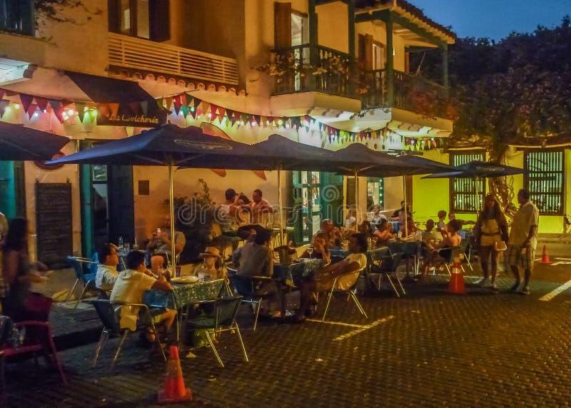 Centro histórico de Cartagena na noite foto de stock