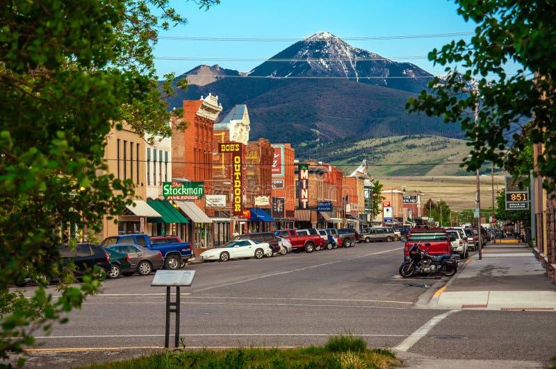 Centro histórico de Livingston, Montana foto de archivo
