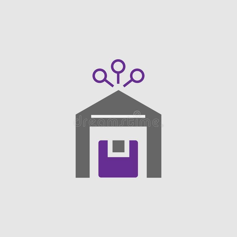 Centro, icono del paquete Elemento del icono de la entrega y de la logística para los apps móviles del concepto y de la web El ce ilustración del vector