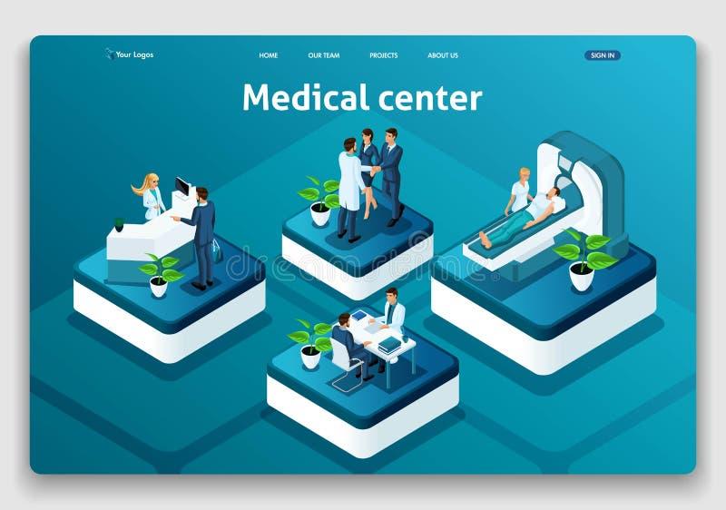 Centro médico de aterrizaje isométrico del concepto de la página de la página web de la plantilla Doctor que diagnostica al pacie stock de ilustración