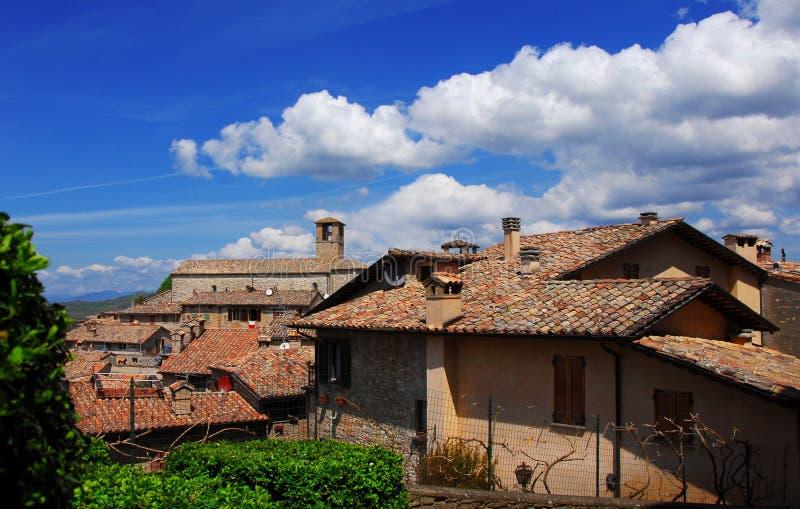 Centro medievale di Montone immagine stock