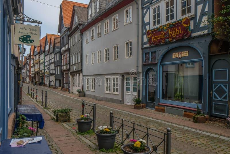 Centro Municipal Histórico de Marburgo com casas tradicionais fotografia de stock