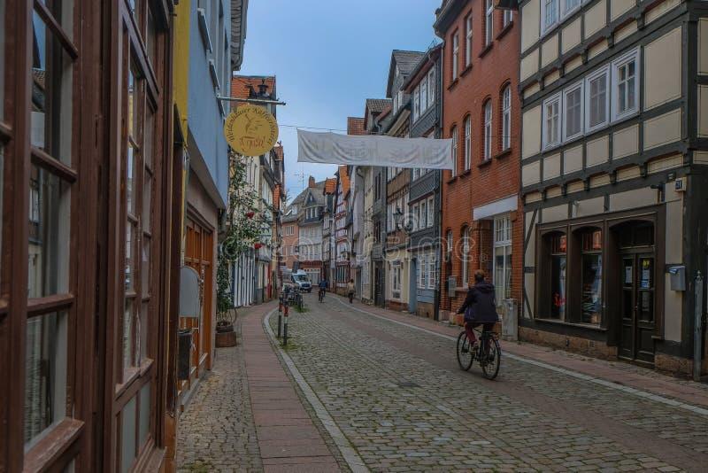 Centro Municipal Histórico de Marburgo com casas tradicionais imagens de stock