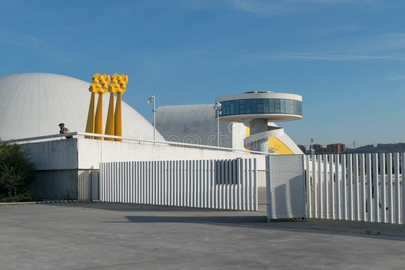 Centro Niemeyer w Avilés, widok od portu zdjęcie royalty free