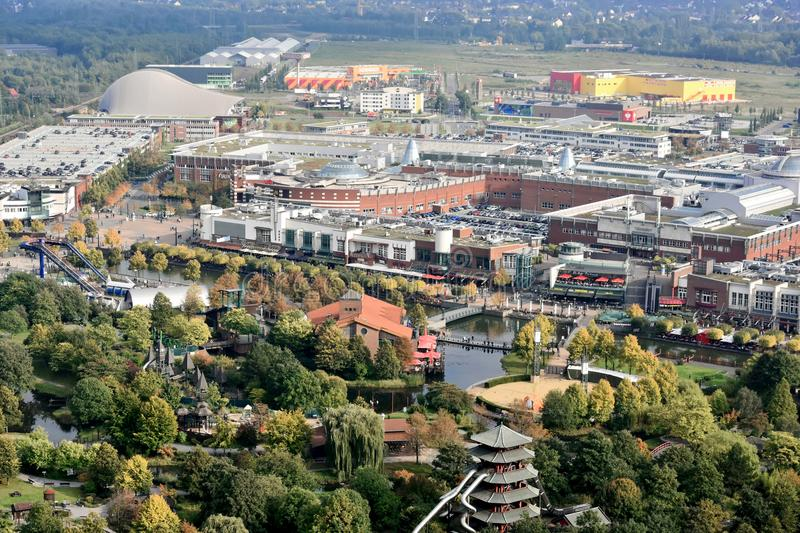 Centro Oberhausen panorama. Panoramic view Oberhausen Centro in Ruhr Valley area with shopping center and a lot of restaurants and cafes stock photos