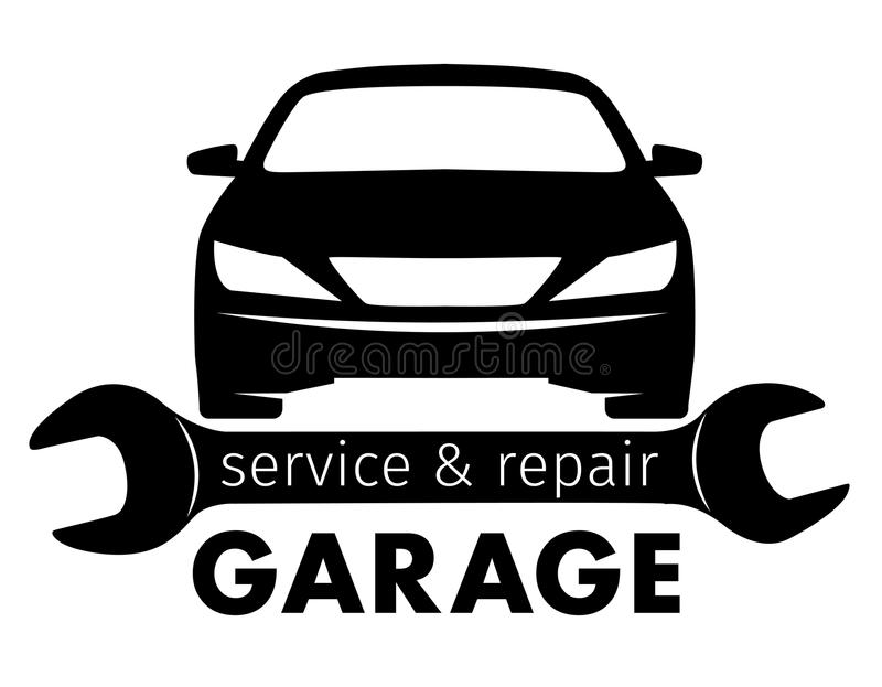 Centro, servicio y logotipo autos de la reparación, plantilla del garaje del vector stock de ilustración