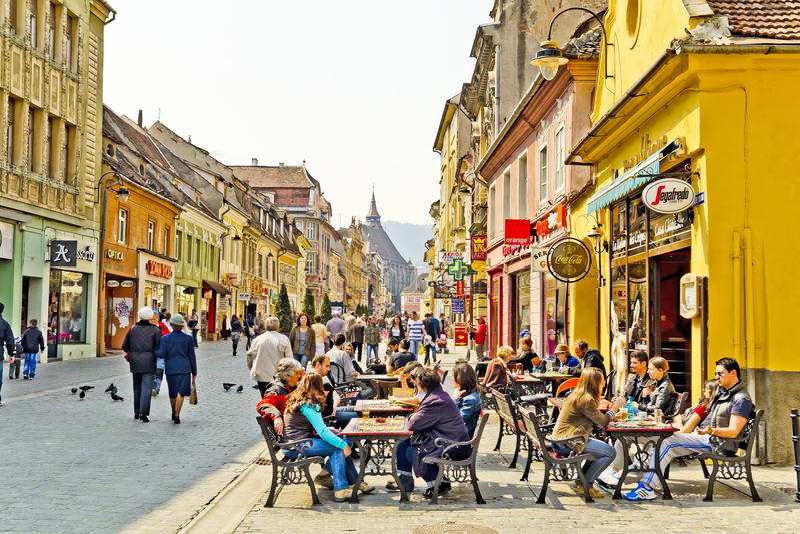 Centro storico di Brasov immagini stock libere da diritti