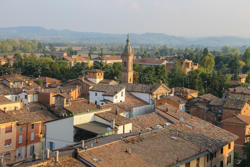 Centro storico di Spilamberto, Italia Vista superiore immagini stock