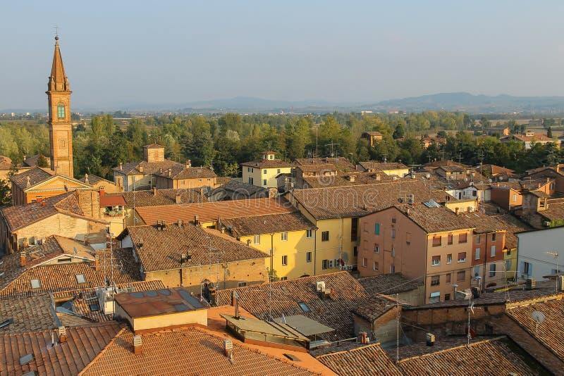 Centro storico di Spilamberto, Italia Vista superiore immagine stock libera da diritti