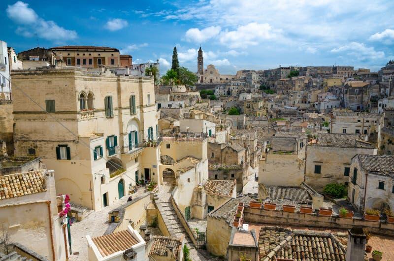 Centro storico Sasso Barisano, Basilicata, di Sassi di Matera fotografia stock libera da diritti