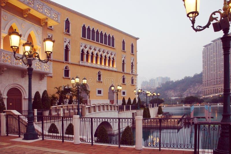 Centro turístico de la copia del palacio del dux veneciano del casino de Macao igualando foto de archivo