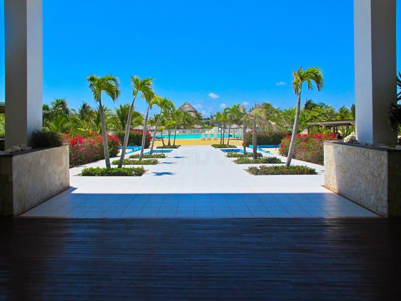 Centro turístico del Blanca de Playa (Cayo largo, Cuba, Caribbeans) imagen de archivo