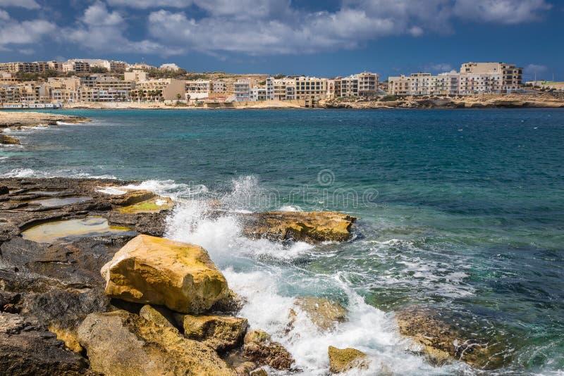 Centro turístico Marsaskala, Malta imagen de archivo libre de regalías